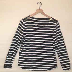 Talbots Navy Blue and White Stripped Top